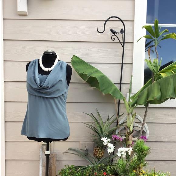 Silk Blouse Pre-Loved Large Sleevless Side Zip